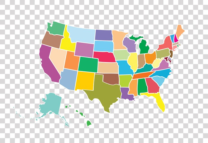 Map of the United States, showing the 50 states in different colors