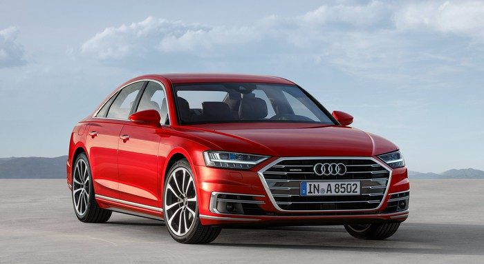 A red 2018 Audi A8, a big luxury sedan