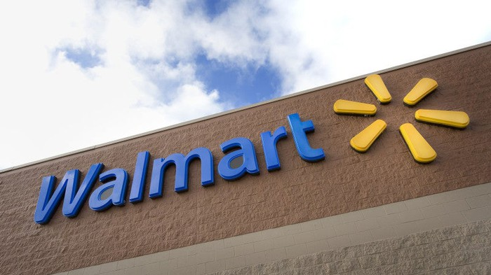 Walmart store sign with blue sky above