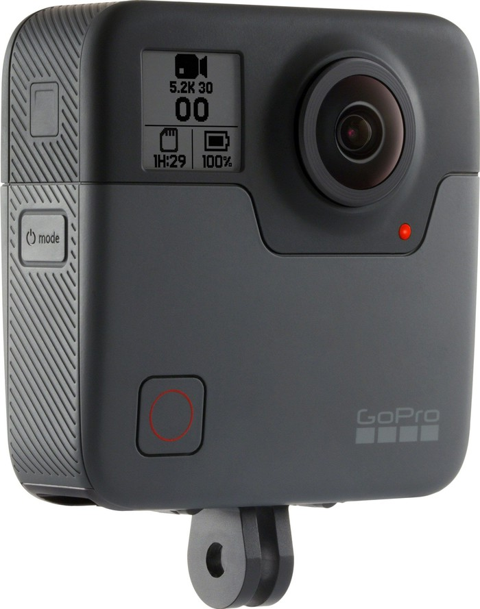 GoPro's Fusion camera from a 45 degree angle.
