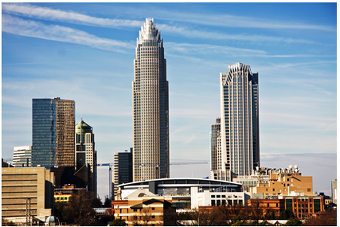 Bank of America's headquarters looms over downtown Charlotte, North Carolina.