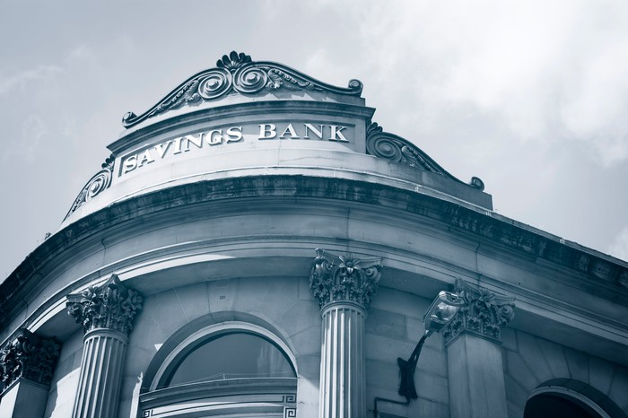 The exterior of a bank building.