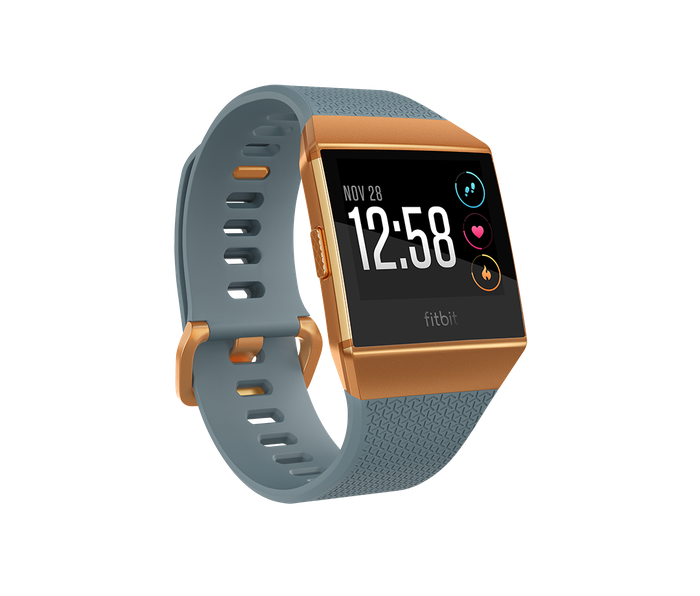 The Fitbit Ionic smartwatch, displayed in slate blue and burnt orange.