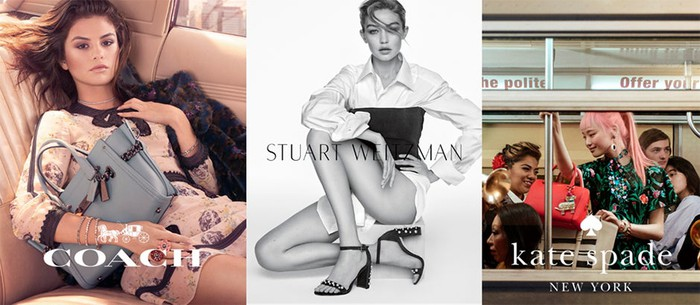 The Coach, Stuart Weitzman, and Kate Spade brands displayed side-by-side, displaying women wearing accessories from each brand.