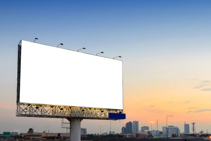 blank billboard next to highway