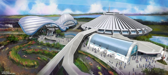 Concept art for Tron coaster coming to Disney World's Magic Kingdom in a few years.