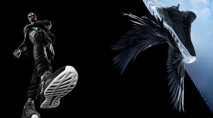 And ad for Nike Michael Jordan Formula 23 sneakers showing a man in sneakders and a sneaker on wings.