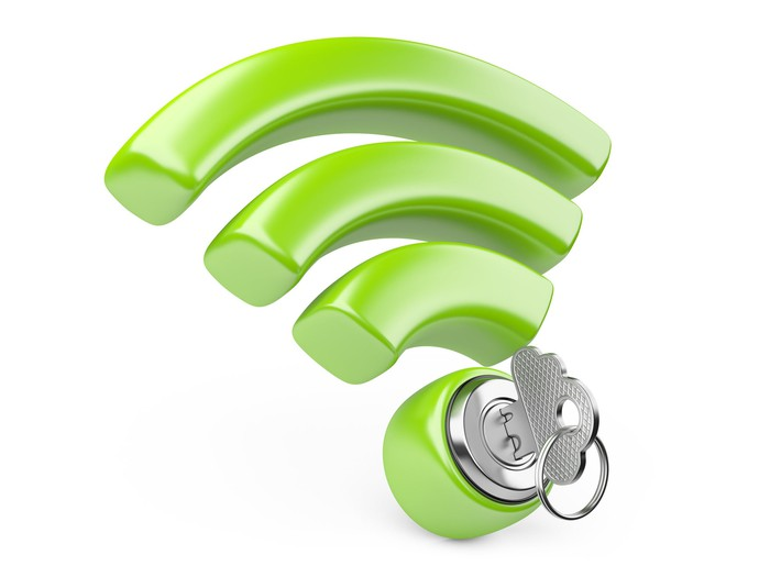 A green 3D version of the official Wi-Fi logo with a silver lock and key incorporated in the dot at the base.
