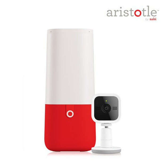 A cone-shaped smart speaker with accompanying webcam.