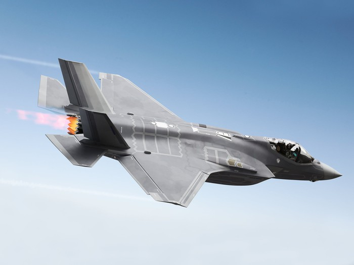 A F-35 fighter jet in the sky
