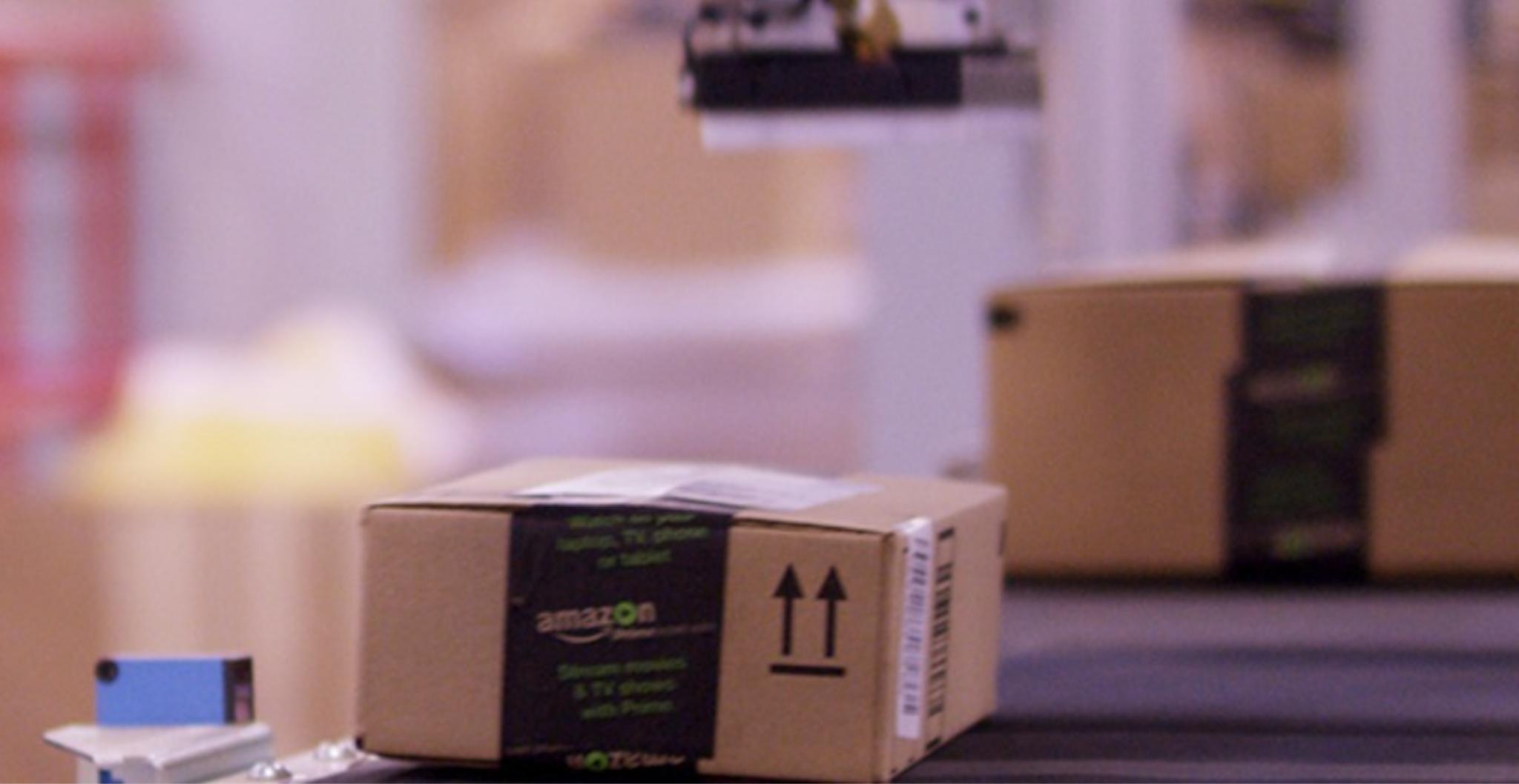 Amazon boxes in an Amazon fulfillment center