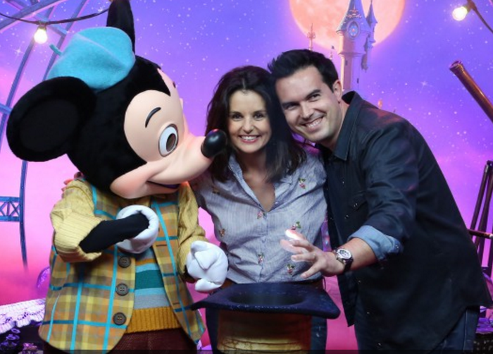Mickey Mouse speaks to Marie and Donny Osmond.