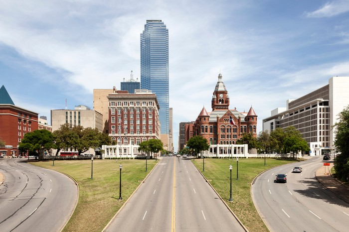 The Bank of America building in Dallas, Texas, towers over Dealey Plaza.