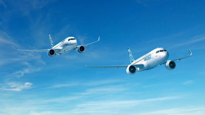 A rendering of an A320neo and a CS100 flying side-by-side