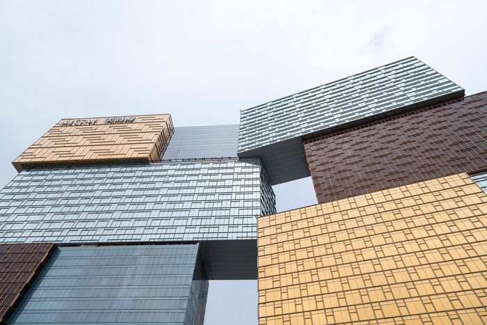 Artist's rendering of the outside of the MGM Cotai resort