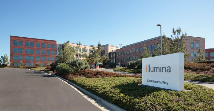 Illumina sign and office buildings