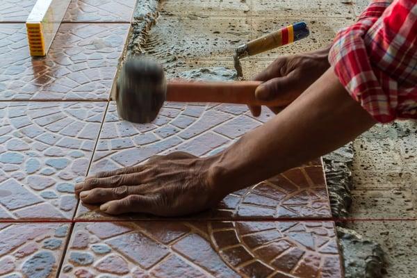 Tile installing floor tiles 1500