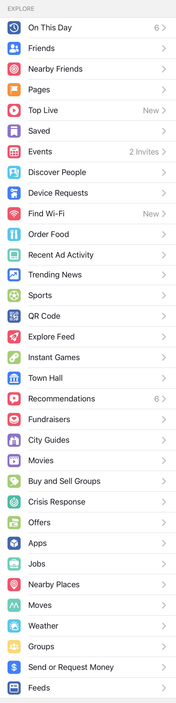 Sidebar of Facebook app