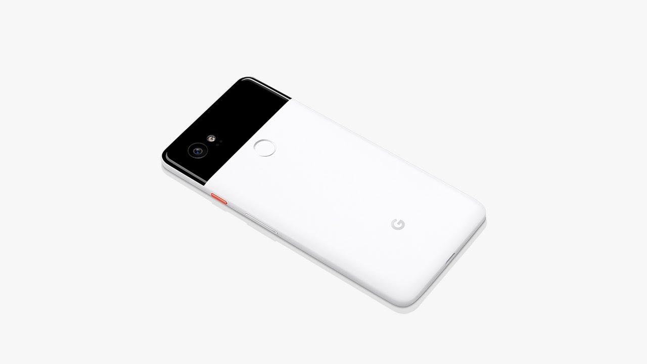 A white Google Pixel 2 smartphone.