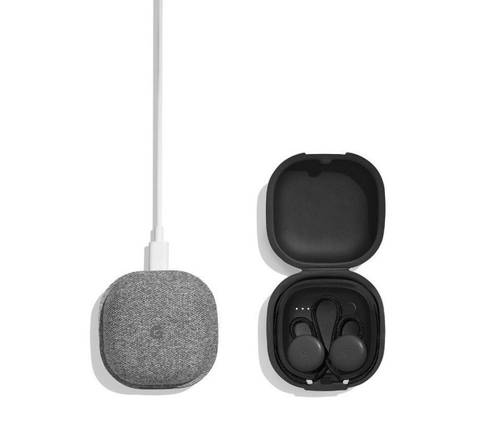Side by side closed and open Pixel Bud cases, showing the earbuds charging.