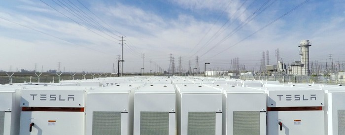 Tesla batteries in a utility-scale installation.