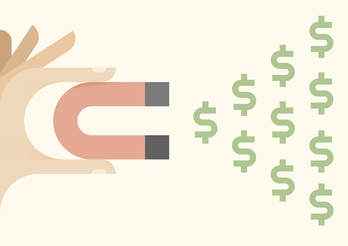 Illustration of a hand holding a magnet that attracts dollar signs.