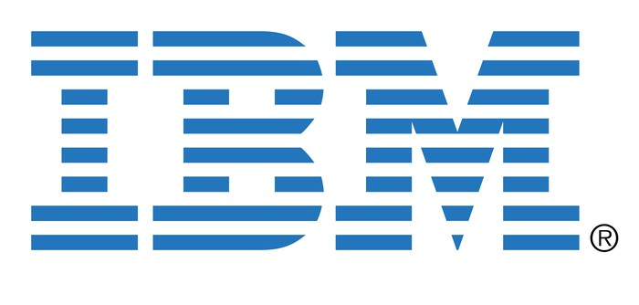IBM's classic logo, blue stripes on white background.