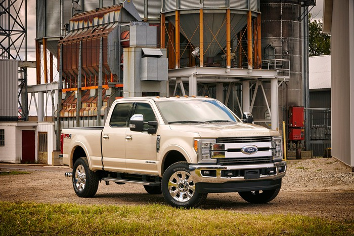 A cream-colored 2017 Ford F-350 Super Duty pickup.