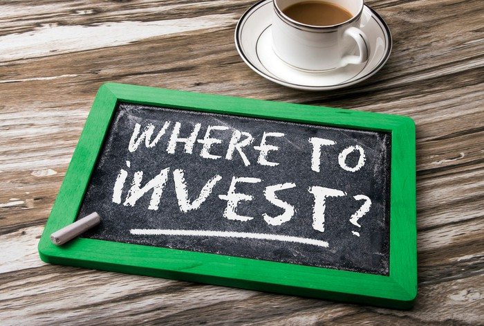 "Chalk slate on a table next to a coffee cup with ""where to invest?"" written on it."
