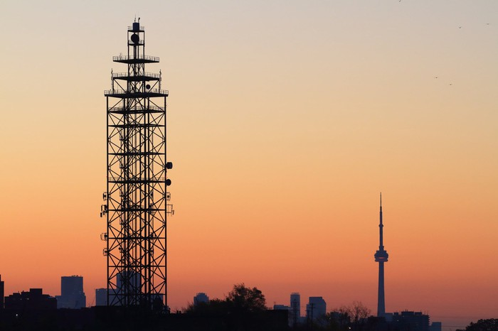 A communications tower in Toronto.