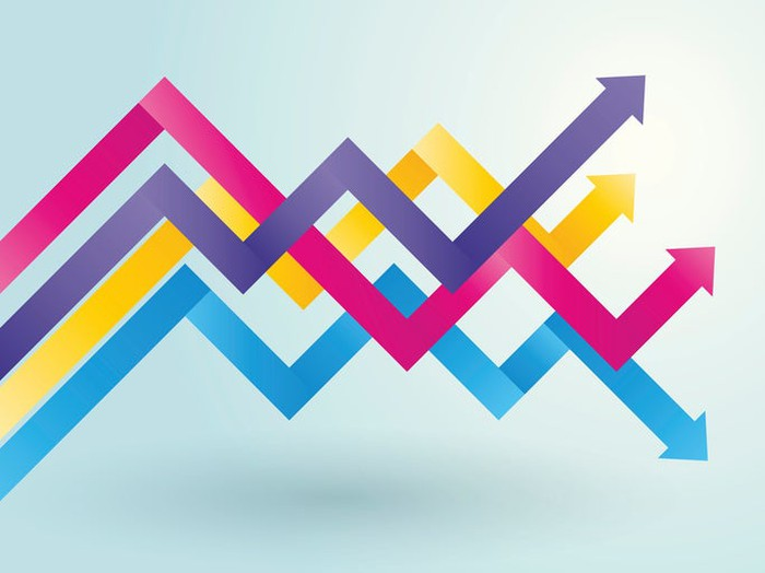Illustration of purple, yellow, fuchsia, and blue charting arrows on a pale background.