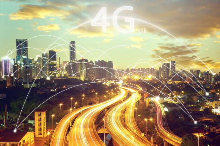 Visualization of a 4G LTE network over a city