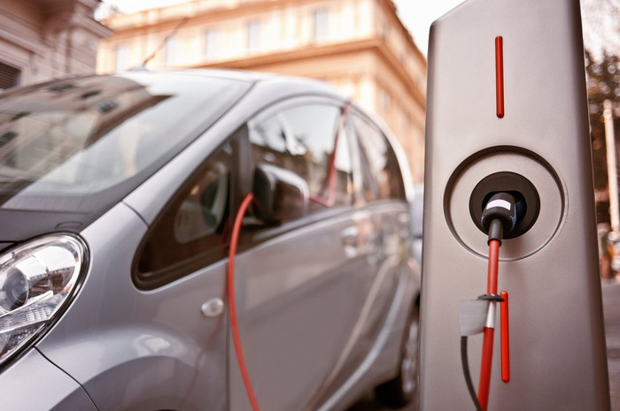 A car being electrically charged