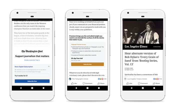 Examples of paywall Instant Articles in Facebook's Android app