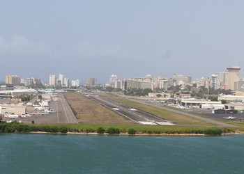 The San Juan Airport during an approach for landing.