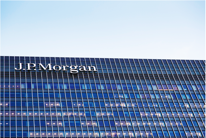 A building with the J.P. Morgan logo on the top.