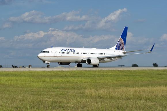 United airplane on tarmac.
