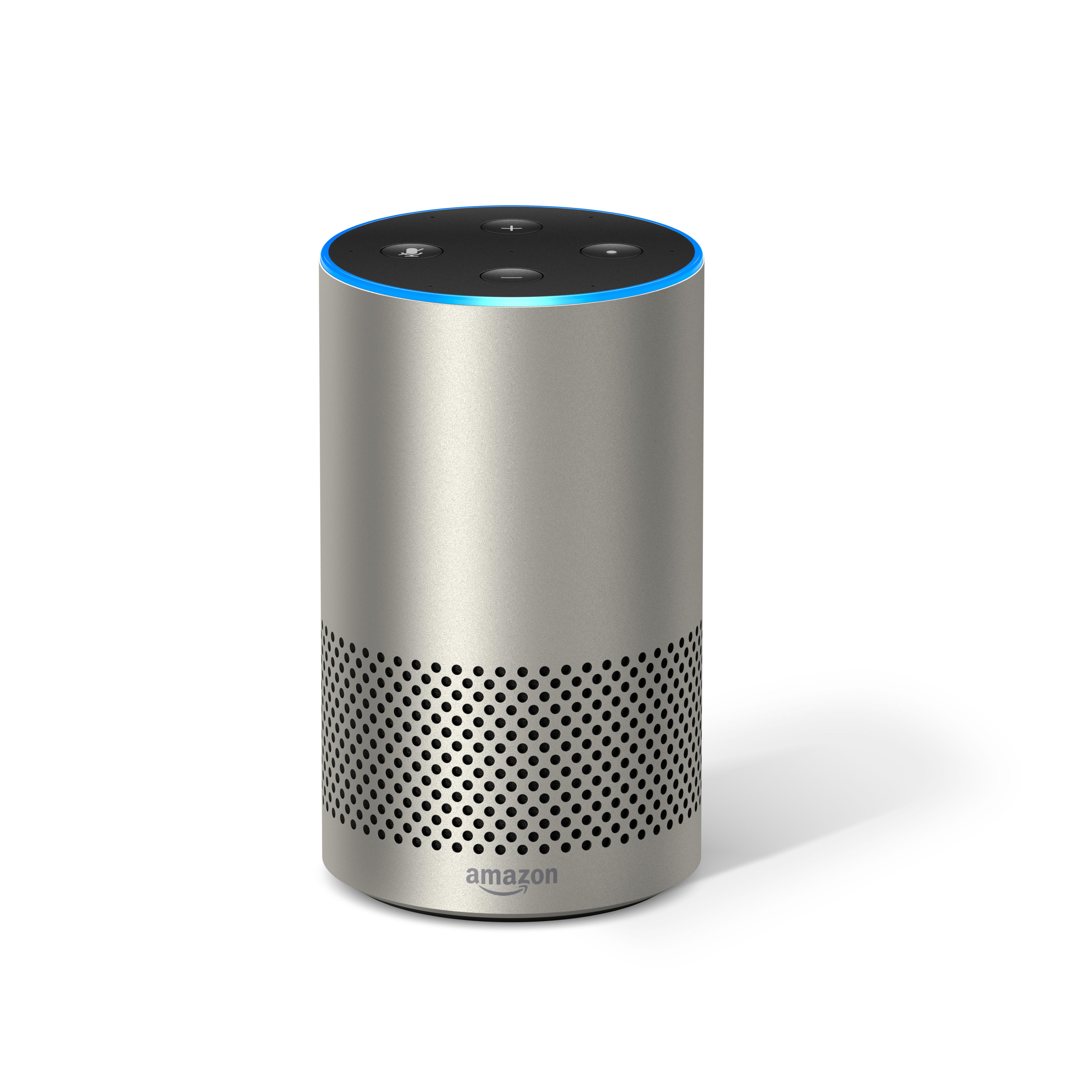 A silver Amazon Echo