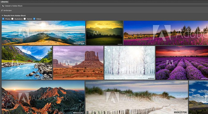 Adobe's Creative Cloud user interface screen showing several images of the outdoors.