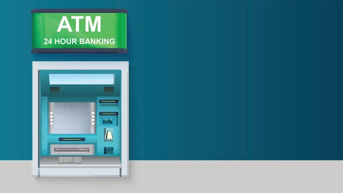 """ATM on blue background, with green sign on top which reads """"ATM / 24 Hour Banking."""""""