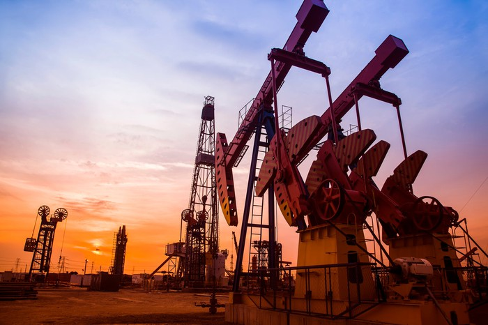 An oil pumping unit in the evening.