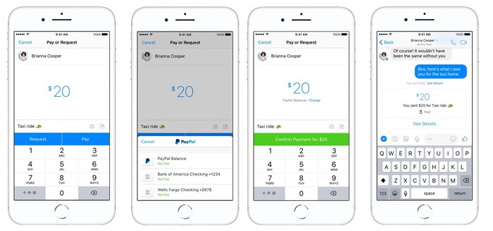 Interface examples of sending money using PayPal through Messenger
