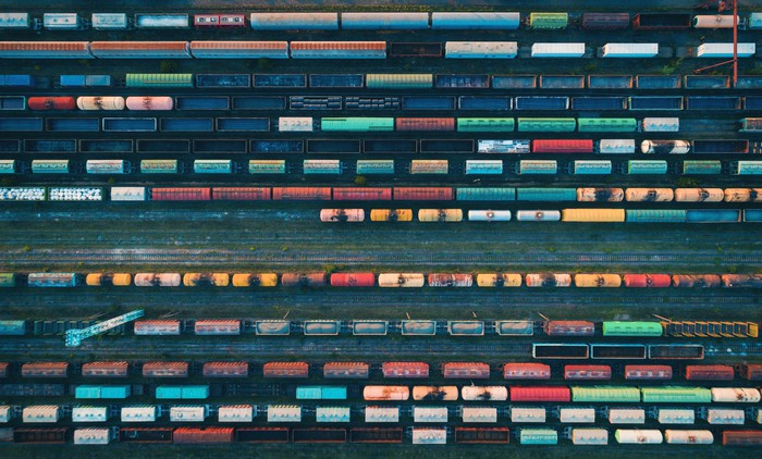 aerial view of freight rail yard
