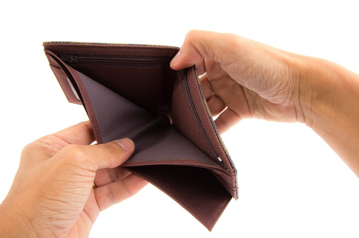 two hands holding open an empty wallet