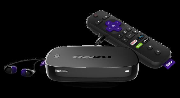 Roku player, earplugs, and remote