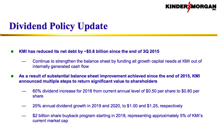 A presentation slide describing Kinder Morgan's distribution policy in words