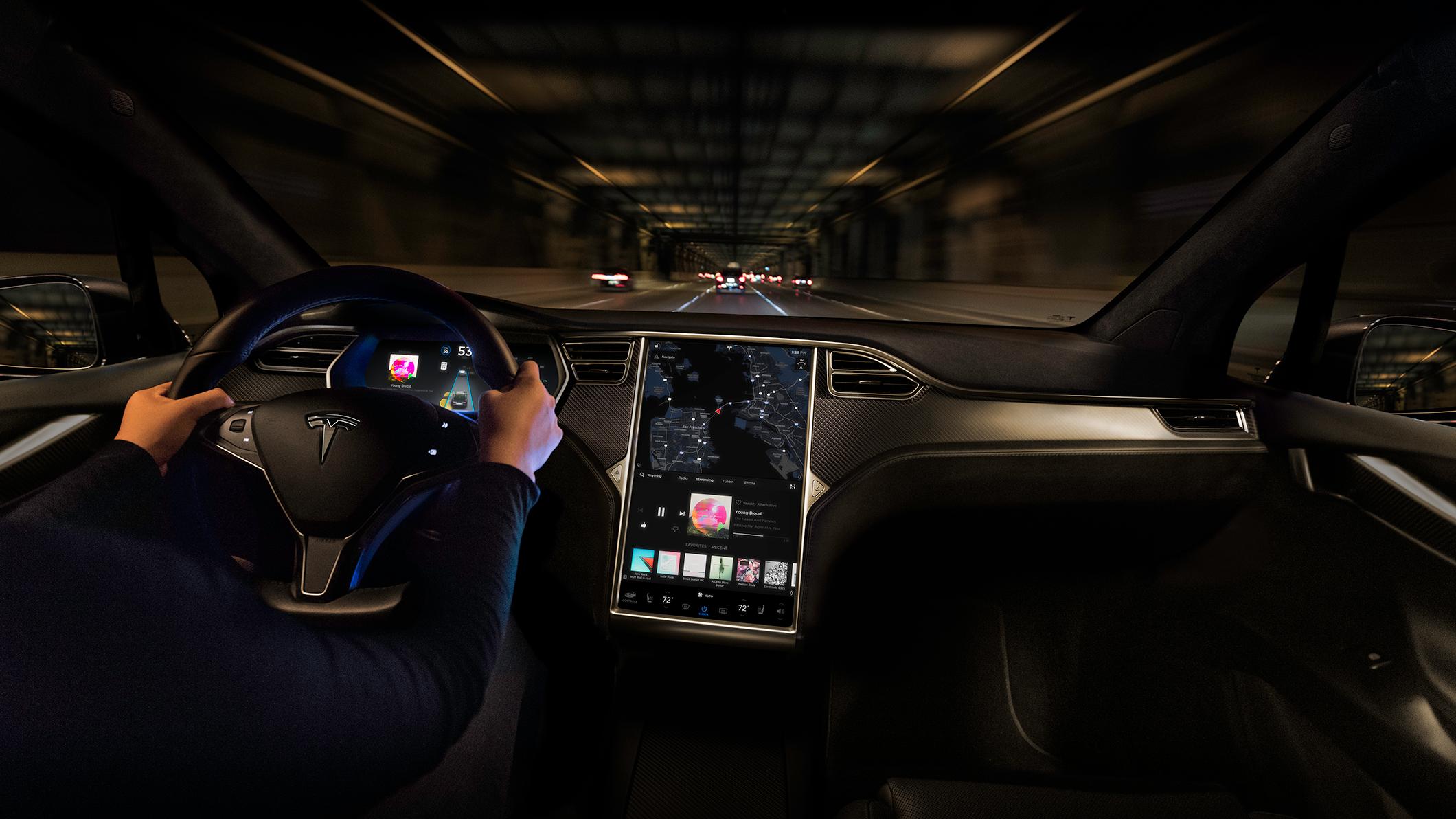 Tesla Model X interior with Autopilot activated.