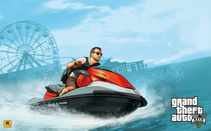 Grand Theft Auto game art depicting character riding a jet ski.