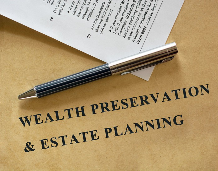 A wealth preservation and estate planning folder with a pen on top of it.