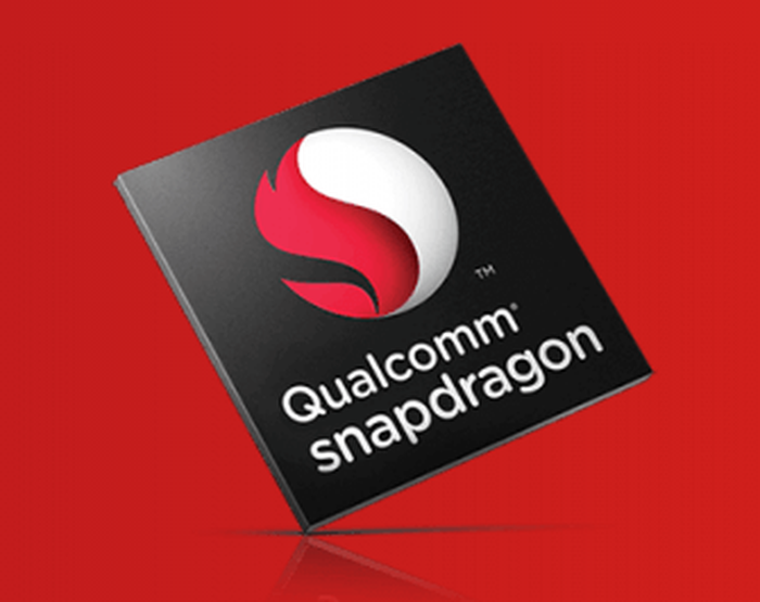 The Qualcomm Snapdragon logo against a red background.